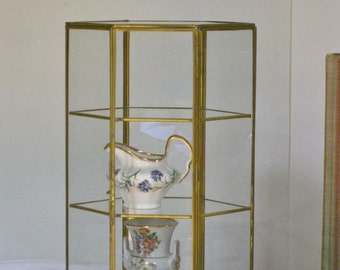 Vintage Glass and Brass Display Box, Small Geometric Shaped Curio Case,