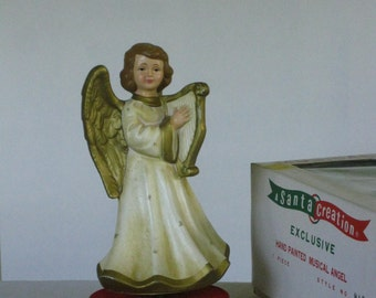 Vintage Musical Angel Wind Up Music Box Christmas Decoration, A Santa Creation Original Box, Music Box Mid Century 1950s Hand Painted