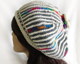 Woman's Colorful Knit Hat Grey and White Striped Knit Beret Knit Hat Women's Striped Hat Colorful Winter Hat Gray and White Winter Hat