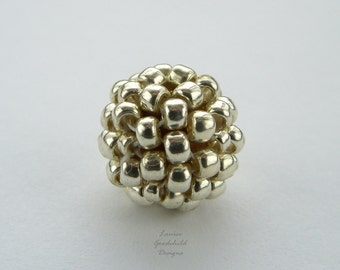 Silver handmade beads, metallic beads, beaded beads, handwoven beads, MADE TO ORDER hand stitched beads, silver 10mm beads, woven beads