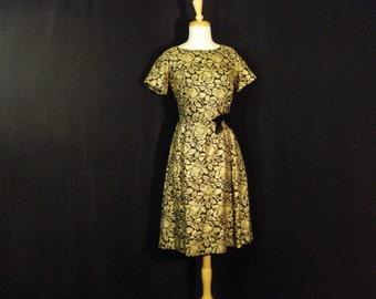 1950s Vintage Dress Black & Gold Metallic Brocade Chic Party Dress M