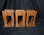 Three Pairs Vintage Industrial Metal Woodgrain Bookends