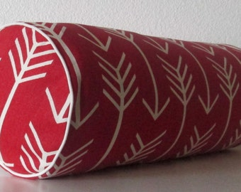 Decorative pillow cover - Red - tribal - arrow - apache - bolster pillow cover