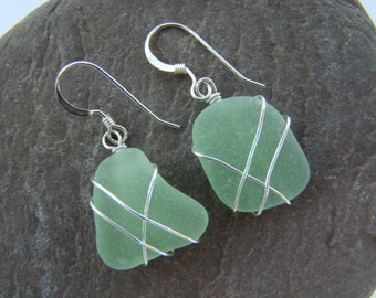 Seafoam Sea Glass Earrings, Wire Wrapped - Sterling Silver