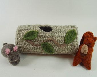 Hollow log animal home, waldorf toy, stuffed toy, stuffed animal home,