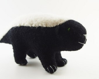 Honey badger toy, wool waldorf toy, stuffed toy, repurposed materials