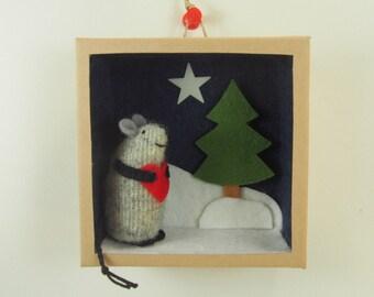 mini diorama, toy mouse, waldorf toy, stuffed animal, stuffed toy, nursery decor, child's decor, winter scene,