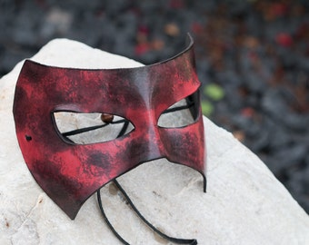 Leather Mask Black and Red