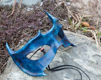 Leather Blue Horned Mask