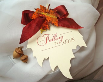 FALLING IN LOVE Autumn Fall Leaf Shape Wedding Save the Date Leaves Maple Oak Tree Painted Ivory Orange Pumpkin Brown Red Yellow - Sample