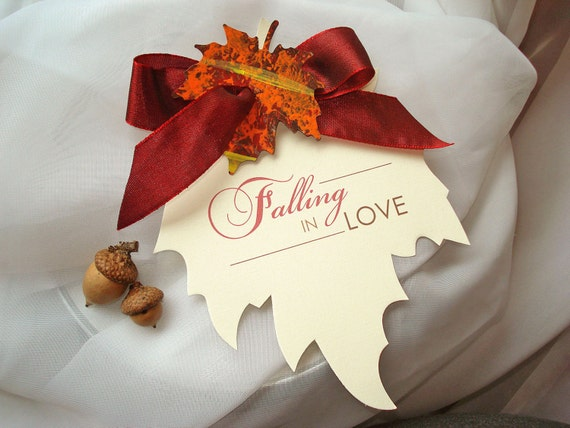 Falling In Love Hand-Cut Ivory Linen Maple Leaf Wedding Save the Date... SAMPLE