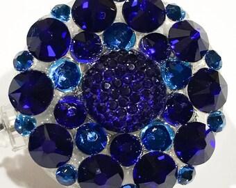 Royal Navy Blue Swarovski Crystal Embellished Retractable ID Name Tag Holder Badge Reel