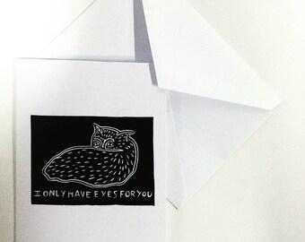 Cute Cat Card, hand printed cards, blank card, Birthday Cards, Block printed cards, anniversary card, Love note, block printed card