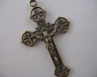 Shamrock Crucifix Bronze Rosary Parts Irish Crucifix Rosary Supplies Religious Jewelry B386LS