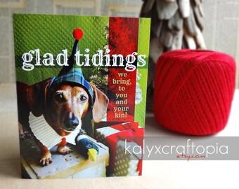 Wiener Dog Christmas Card Set of 5 - Glad Tidings We Bring Dachshund Elf