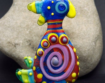 Crazy Chicken * Lampwork,  Focal Bead - Signatur Glass Art Focal Bead by Michou P. Anderson