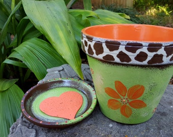 Animal Print Planter - Painted Flower Pot - Green and Orange - Giraffe Print - Boho Planter