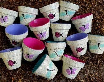 small painted flower pots polka dots garden party favors kids tea party. beautiful ideas. Home Design Ideas