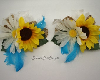 Sunflower Daisy Corsage, Rustic Wedding Decoration, Special Occasion Florals, 1 Wrist or Pin corsage