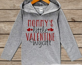 Valentine Shirt - Kids Hoodie - Mommy's Little Valentine Pullover - Baby Boys Valentine's Day Outfit - Grey Toddler Hoodie - Infant Hoodie