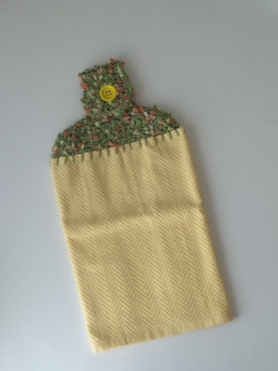 hand crochet kitchen hand towel topper with button cotton