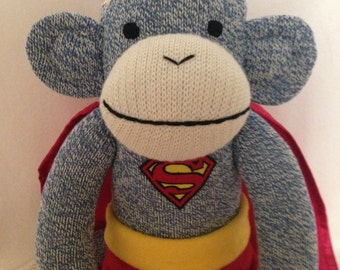 SUPERMAN Sock MONKEY Doll ~ Embroidered Eyes