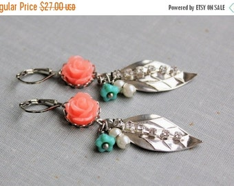 VACATION SALE Coral Rose Dangle Earrings. Turquoise and Coral Earrings