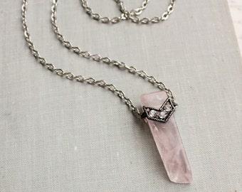 Rose Quartz Necklace. Raw Quartz. Chevron Bar Necklace.