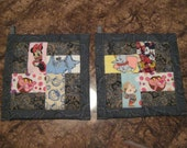 Storybook Character Spin on Gray or Purple Kitchen Potholder Set