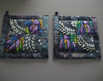 Purple Iris and Fern Kitchen Potholder Set