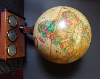 """Denmark Lighted World 12"""" Scan Globe, Globe with Lights and Thermometer, Hydrometer, Barometer"""