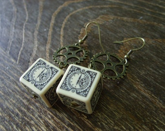 D6 steampunk dice earrings clockwork dice jewelry dnd dungeons and dragons toothed bar pathfinder dice jewelry steam punk earrings dice