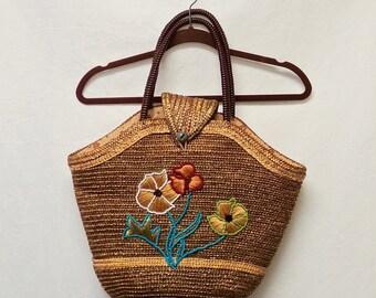 1940s / 50s Vintage Beaded Raffia & Straw Bag / Floral Beach Tote Bag