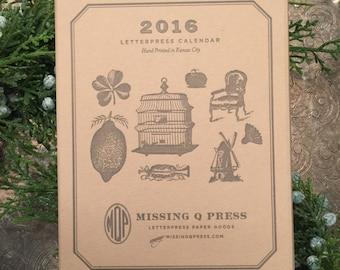 SALE!!!!! 2016 Letterpress Calendar