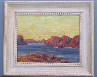 Northern Peace, Framed 11 x 14 inch (28 x 36 cm) oil on canvas board painting. Landscape. Landschaft.  Sunset. Wilderness. Yvonne Wagner.