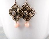 Filigree Dangle Earrings, Crystal Earrings, Flower Earrings, Lace Earrings, Peach Bridesmaid Earrings