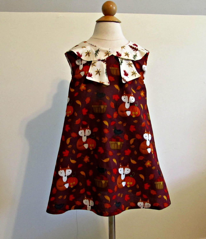 Girls Fall Foxes Dress Thanksgiving Dress Fall Autumn Dress Baby