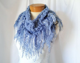 Blue and silver fringe scarf Prom Triangle shawl Mothers day gift Knit fashion scarflette Bib cover up Southwestern bandana Spring office