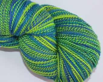 SALE ! 33% Off ! Handspun Yarn, 18 micron Merino Wool, Sport weight, 415 yards, Color Neon Green, Blue and Turquoise