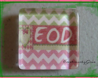 EOD 1 inch Glass magnet -EOD pink and green chevron