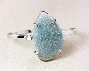 ON SALE Blue Druzy Cuff – Rainbow Moonstone – Sterling Silver