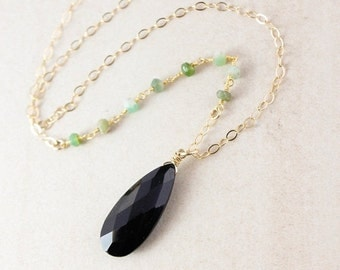25% OFF Black Spinel & Green Chrysoprase Necklace - Layering Necklace