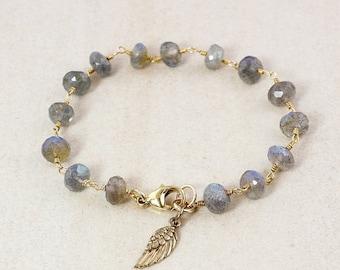 20% OFF Gold Blue Labradorite Bracelet - Angel Wing Charm - Charm Bracelet