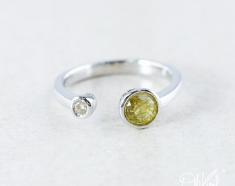 Silver Yellow Tourmaline & Diamond Dual Stone Ring - Two Stone Ring