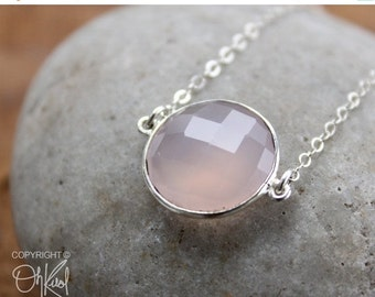 CLEARANCE SALE Pink Chalcedony Bezel Gemstone Necklace - Sterling Silver