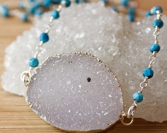 50 OFF SALE Grey Agate Druzy Necklace - Connector Druzy - Turquoise Chain