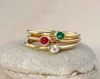 Customized Stackable Birthstone Rings – Choose Your Birthstones and Setting