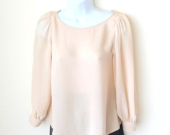 Blouse - Pullover - Pale - Beige - Silk - Romantic - Size Extra Small - Floaty - Girly - Long Sleeve - Designer - Button Back Neck -
