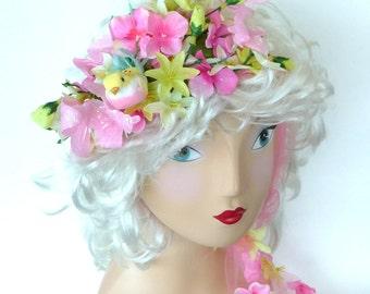 Hat Band, Fascinator, Bridal, Wedding, Tulle, Floral, Flowers, Bird, Butterflies, Unique, Garden Party, Pink, Yellow, Green, Flower Girl