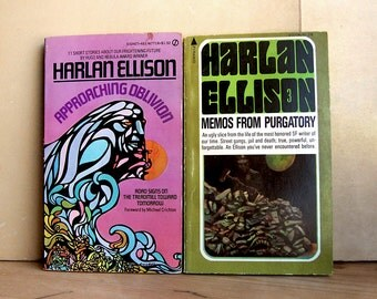 Vintage Pair of Books by Harlan Ellison Approaching Oblivion and Memos From Purgatory Paperback Classic Science Fiction 1970s.